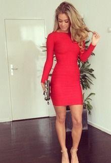 strak rood jurkje